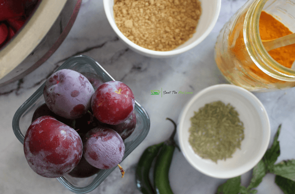 Plum Chutney Instant Pot Ingredients Image