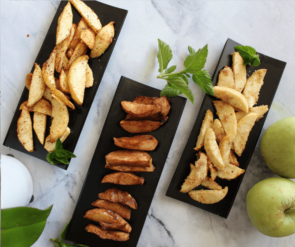Air-fried Apples : Cinnamon, Nut-cardamom and Cocoa