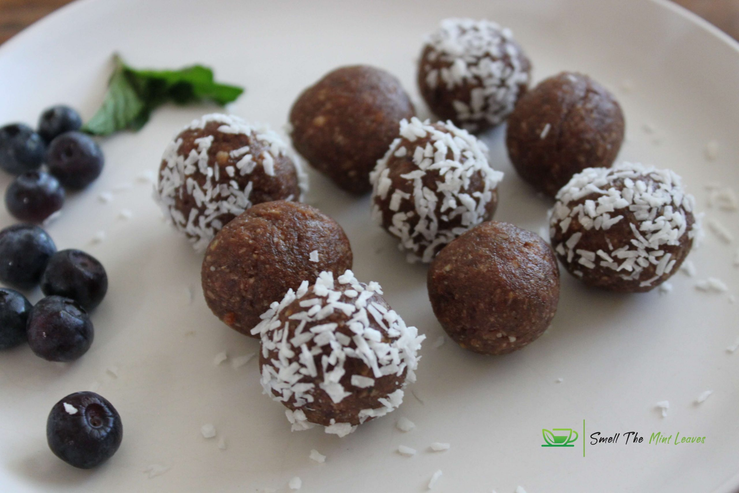 Peanut stuffed dates, lemon and coconut bites