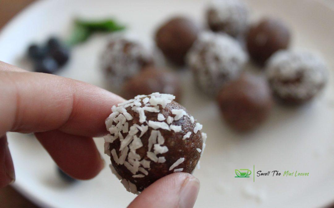 Peanut-stuffed dates lemon and coconut bites