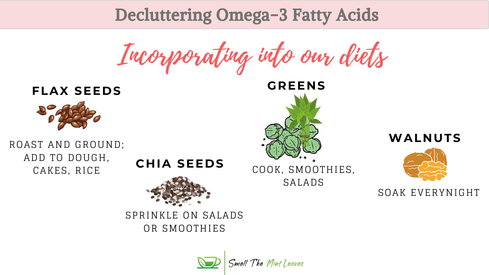 Omega-3 fatty acids incorporate into diets