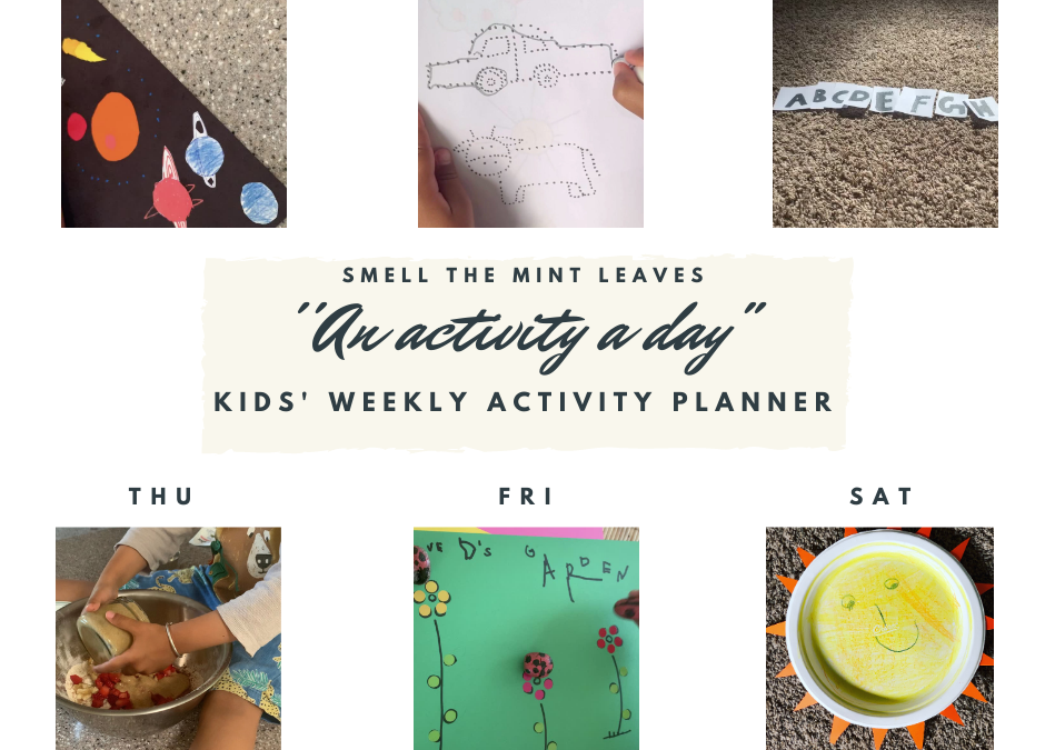 Kids activities at home: A weekly planner