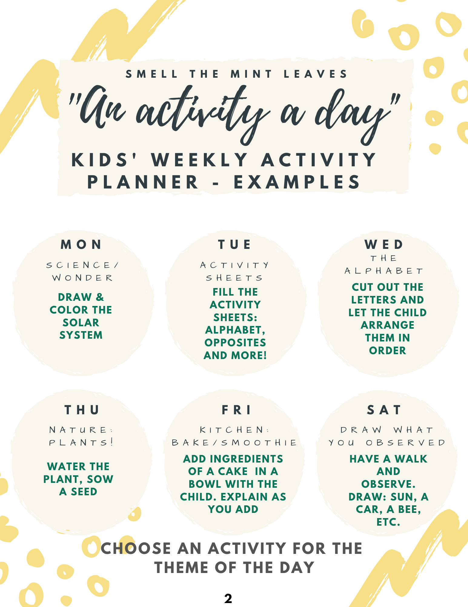 Kids activities at home weekly planner